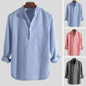 Mens Long Sleeve Striped Shirts Collarless V Neck Henley Blouse Pullover Red M