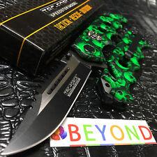 Tac-Force GREEN Skull Rescue Spring Assisted Glass Breaker Folding Pocket Knife!