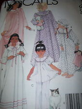 McCALL'S #9302 - GIRLS GRANNY STYLE NIGHTGOWN-PJ'S-ROBE & BONNET PATTERN 12-14uc