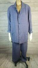 FLAX Jeanne Engelhart Purple Linen Lagenlook Oversized Pantsuit Sz Small