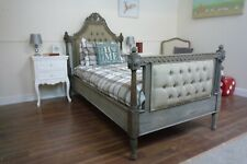 French Farmhouse Style Upholstered Single Bed In A Rustic Weathered Oak Finish