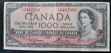 1954 $1000 ONE THOUSAND DOLLAR CANADIAN BILL CIRCULATED
