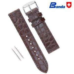 Banda Premium Grade Calfskin Crocodile Grain Leather Watch Band, Sizes 18 - 26mm