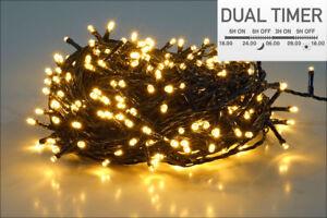 LED Lichterkette warm weiß - Dual Timer - Innen Außen Batterie 8 Funktion Deko