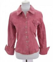 Aria Womens 100% Leather Snap Front Shirt Jacket Lined Western Pink Sz Large