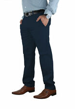 Mens Stretch Chino Trouser Cotton Slim Fit Jeans Khakis Casual Spandex Pants Navy 34 32