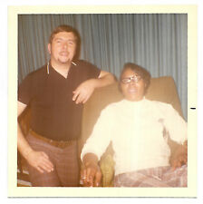Square Vintage 70s PHOTO Interracial Couple Young White Man & Black Woman