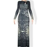 ROBERTO CAVALLI Stretched Long Sleeve Evening Maxi Dress Size M 42 8
