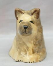 HAND PAINTED ART POTTERY MINIATURE  MODEL OF A SEATED ALSATIAN DOG THIMBLE