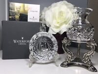 "Vintage Waterford Marked Crystal Colleen Cut Ashtray 3.5"" IOB And Matching Jar"