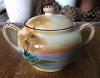 VINTAGE SUGAR BOWL JAPAN NIPPON MORIAGE HAND PAINTED SUGAR BOWL SCENIC