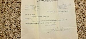 Rare George Eastman Kodak signed typed salary letter A. A Ruttan 1909 No Reserve