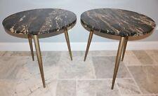 Pair Marble Tables Stone Mid-Century Modern Minimalist Scandinavian