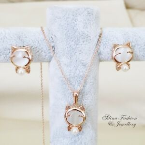 18K Rose Gold Filled Simulated Opal & Pearl Girl Lady Lovely Cat Set Jewellery