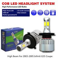 LED headlight Bulbs COB White Car High Beam Fit 2003-05 Infiniti G35 Coupe Sedan