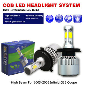 LED headlight Bulbs COB White Car High Beam Fit 2003-05 Infiniti G35 Coupe Sedan