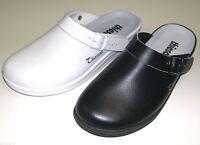 Thiesana Damen Herren Schuhe Pantolette Beruf Clogs Dani Leder schwarz / weiß