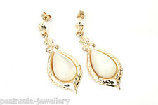 9ct Gold Mother of Pearl Teardrop dangly earrings Gift Boxed Made in UK
