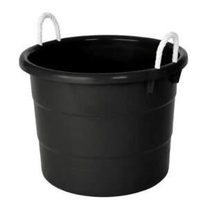 DURABILT 0402GRBK.08 Storage Tub w/ Rope Handles,18 Gal,Black