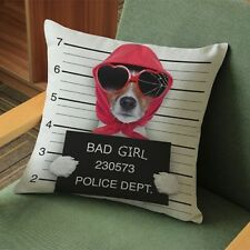 Jack Russell Gifts Cushion Cover - Funny Dog Bad Girl Jail Mug Shot Gift Present
