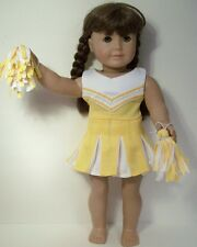 """3pc YELLOW Cheer Cheerleader Doll Clothes Pom-Poms For 18"""" American Girl (Debs)"""