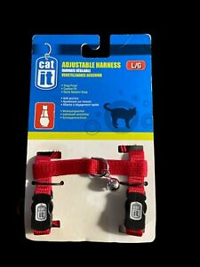NEW Cat It Adjustable Quick Release Cat Harness With Bell - Red - Size Large