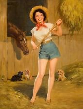Vintage Sexy Pin-up Girl PHOTO Farmers Daughter Legs Farm Horse Art Print Pinup