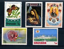 Grenada five stamps 1973 to 1976  SG  573, 585, 678, 729 & 833 MNH