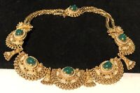 """Early Vintage 15"""" Gilt Green Glass Pearl Ornate Collar Statement Necklace A23"""