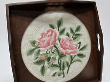 """Needlework Tray with Exquisite Embroidered Linen 12"""" Square - Stunning!"""