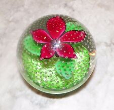 JD 2002 ART GLASS PAPERWEIGHT CLEAR WITH RED FLOWER GREEN LEAVES JOHN DEACONS