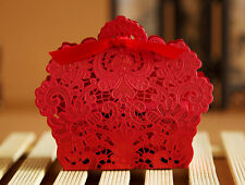 10/50/100 Lace Laser Cut Cake Candy Gift Boxes with Ribbon Wedding Favor Boxes
