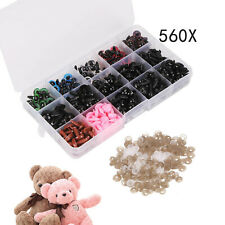 560pcs Plastic Safety Eyes Nose and Washers for Doll Bear Making Screw Colorful