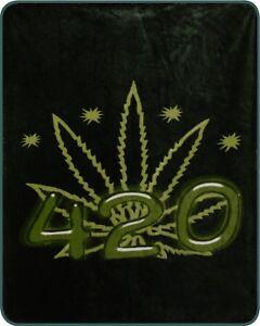 Queen Size Green Hemp Pot Leaf Weed 420 Mink Faux Fur Blanket Super Soft Plush