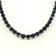 100% Natural 30 Ct Top Quality Diamond Cut Sapphire Tennis Necklace, White Gold