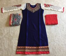Indian Party dress 3 PC Cotton Net Navy Red Embroidered Salwar Suit Size M(38)