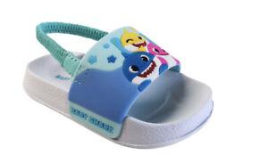 Nikelodeon  Boys Blue Baby Shark Back Strap Slip On Sandals baby beach pool