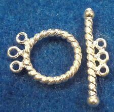 10Sets Silver-Plated 3 Strand Toggle Clasps Brass TWIST Look Tibetan Hooks C395