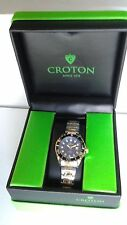 Croton Aquamatic Stainless Steel gold Bracelet BLUE Dial Watch CA201228