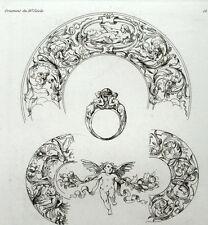ornement Puttis angelot XVIe siècle Bague Bijoux - gravure Riester Clerget 19e