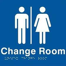 Unisex Change Room Braille Sign 210 x 180mm, White on blue