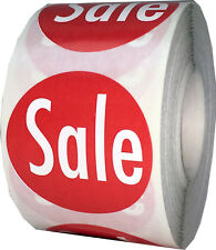 Red with White Sale Circle Stickers, 1.5 Inches Round, 500 Labels on a Roll