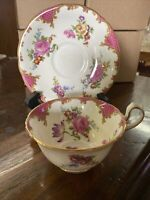 Aynsley England bone china tea cup and saucer Pink fish scale floral #B3645