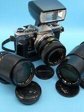 Olympus OM1n Outfit, Zuiko 28-48, 35-105, 65-200 lenses, T20 Flash, Winder 2