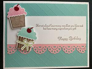 "Stampin Up Card Kit Set Of 4 ""Happy Birthday"" Sage & Pink Cupcakes"