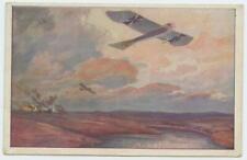 1918 WWI German Color Postcard Single Wing Fighter Airplane Hanz Rudolf Schulze