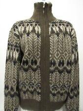 Men's 50's VTG Cardigan Sweater Shaggy Wool Avocado Black White REVERE Zip-Up M
