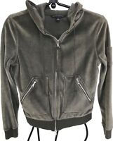 Banana Republic gray velvet hoodie full zip pockets girls jr S 2 zip pockets