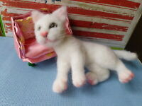 Needle felted wool white Cat mini sculpture one of a kind