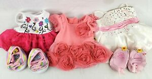 Build A Bear Clothing Lot of 3 Embelished Party Dresses and 2 Pairs of Shoes